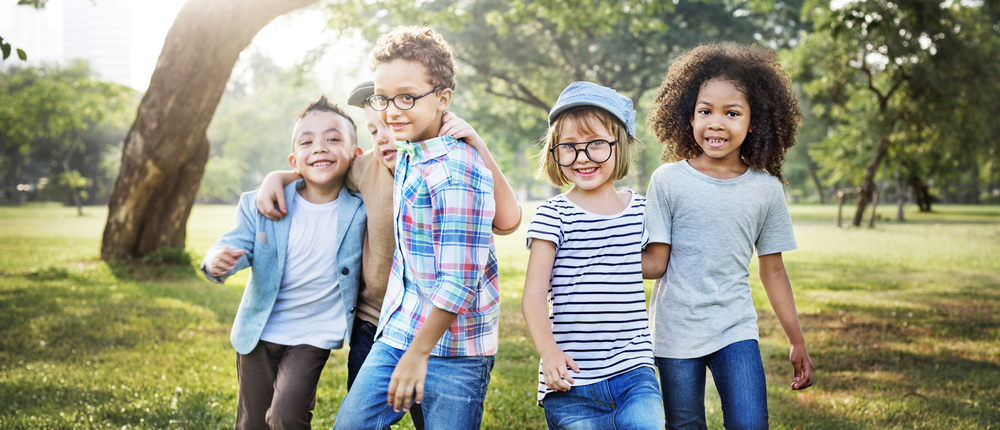 kids wearing glasses playing